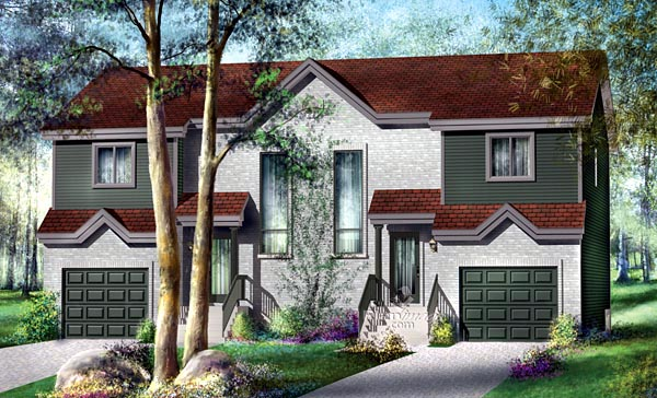 Multi-Family Plan 49807 Elevation
