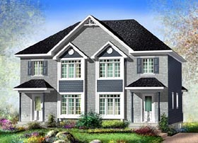 Multi-Family Plan 49811 with 4 Beds, 4 Baths Elevation