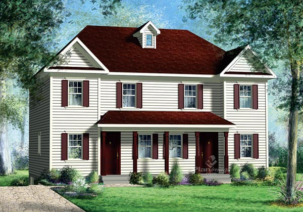 Multi-Family Plan 49813 with 5 Beds, 4 Baths Elevation