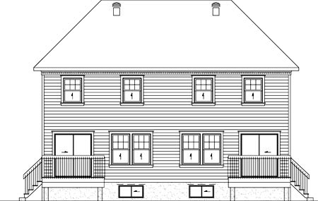 Narrow Lot , Rear Elevation of Plan 49813
