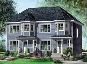 Multi-Family Plan 49814 with 4 Beds, 4 Baths Elevation