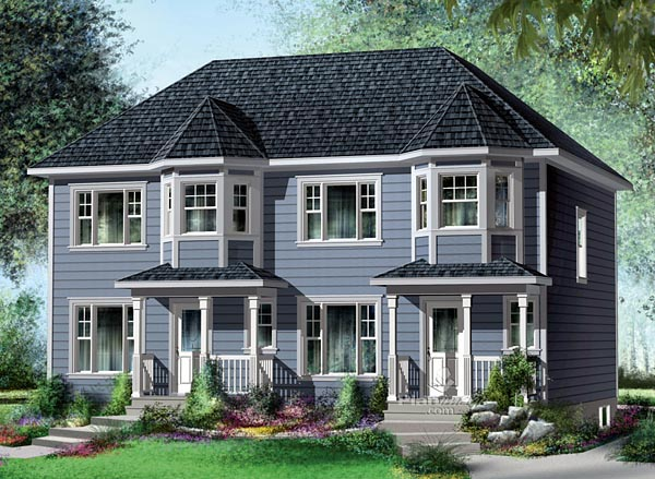Narrow Lot Multi-Family Plan 49814 with 4 Beds , 4 Baths Elevation