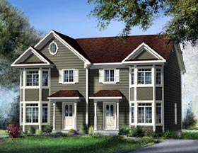 Multi-Family Plan 49815 with 5 Beds, 4 Baths Elevation