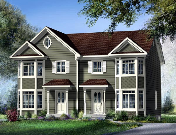 Narrow Lot Multi-Family Plan 49815 with 5 Beds, 4 Baths Elevation