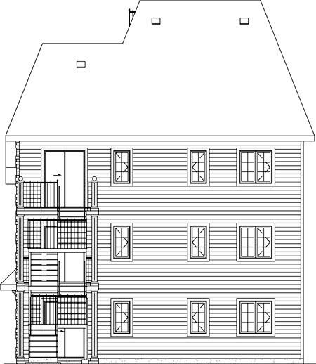 Multi-Family Plan 49817 Rear Elevation