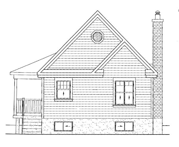 Country House Plan 49824 with 1 Beds, 1 Baths Rear Elevation