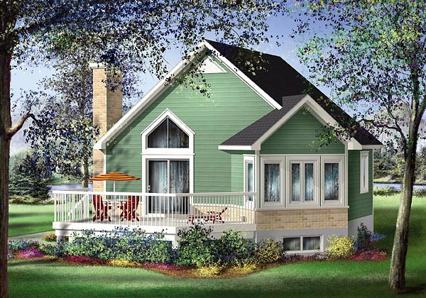 Country, Narrow Lot, One-Story House Plan 49825 with 1 Beds, 1 Baths Elevation