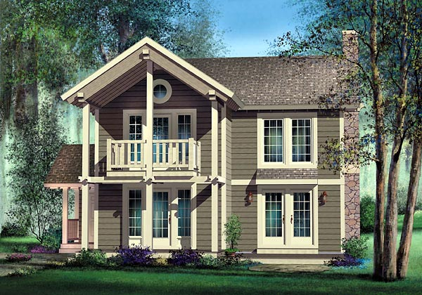 Narrow Lot, Traditional House Plan 49829 with 2 Beds, 2 Baths Elevation