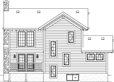 Narrow Lot, Traditional House Plan 49829 with 2 Beds, 2 Baths Rear Elevation