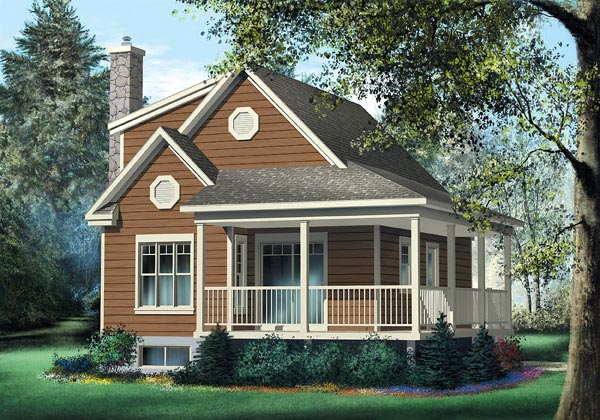 Country, Narrow Lot House Plan 49831 with 3 Beds, 1 Baths Elevation