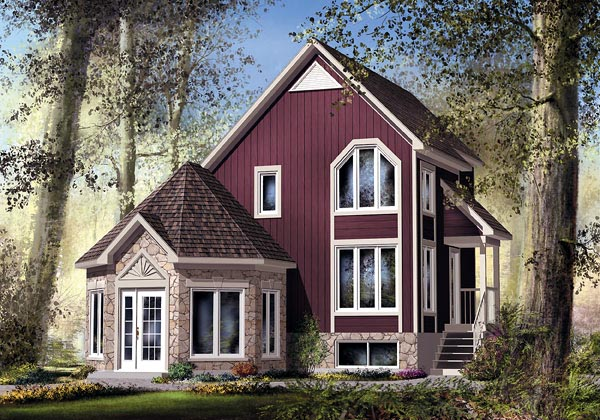 Narrow Lot, Victorian House Plan 49832 with 2 Beds, 2 Baths Elevation
