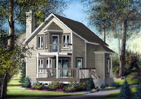 House Plan 49833 | Traditional Style Plan with 1394 Sq Ft, 3 Bedrooms, 1 Bathrooms Elevation