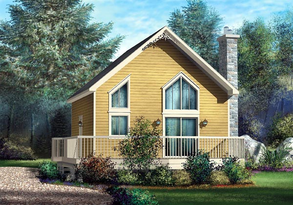 Narrow Lot , One-Story House Plan 49834 with 1 Beds, 1 Baths Elevation
