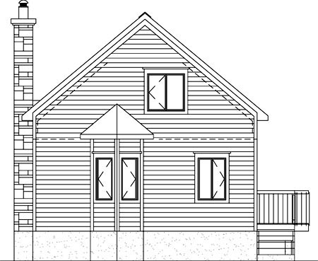 Narrow Lot , One-Story House Plan 49834 with 1 Beds, 1 Baths Rear Elevation