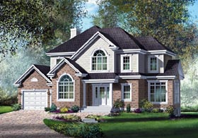 European House Plan 49838 with 3 Beds, 3 Baths, 1 Car Garage Elevation