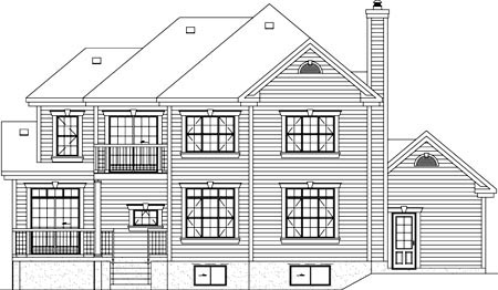 European House Plan 49838 with 3 Beds, 3 Baths, 1 Car Garage Rear Elevation