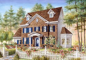 Colonial House Plan 49840 with 3 Beds, 2 Baths, 2 Car Garage Elevation