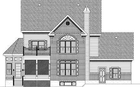 Colonial House Plan 49840 Rear Elevation