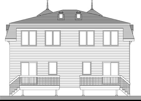 Multi-Family Plan 49841 Rear Elevation