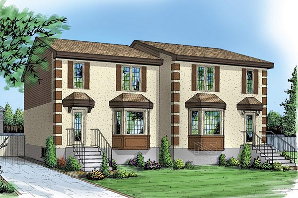 Multi-Family Plan 49845 with 4 Beds, 4 Baths Elevation