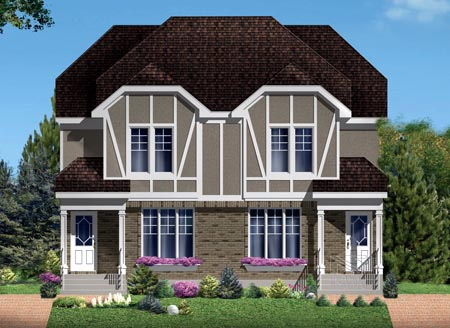Narrow Lot Multi-Family Plan 49847 with 5 Beds, 4 Baths Elevation
