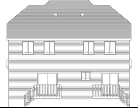 Narrow Lot Multi-Family Plan 49847 with 5 Beds, 4 Baths Rear Elevation