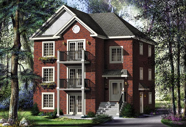 Colonial Traditional Multi-Family Plan 49851 Elevation