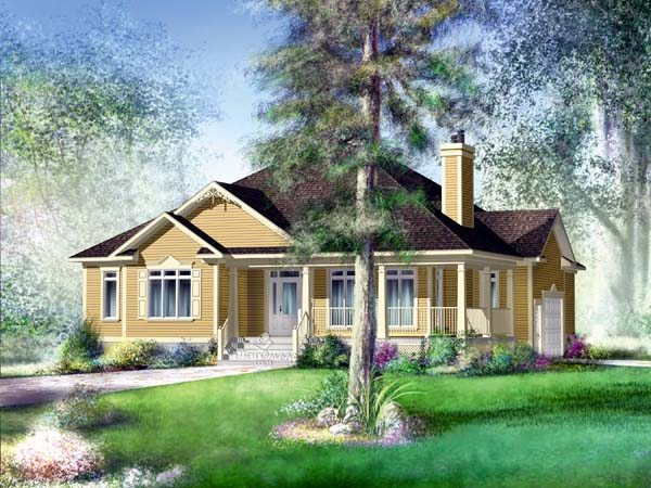 House Plan 49853 | Traditional Style Plan with 2080 Sq Ft, 4 Bedrooms, 3 Bathrooms, 1 Car Garage Elevation