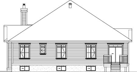 House Plan 49853 | Traditional Style Plan with 2080 Sq Ft, 4 Bedrooms, 3 Bathrooms, 1 Car Garage Rear Elevation