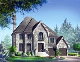 Traditional House Plan 49858 with 4 Beds, 4 Baths, 2 Car Garage Elevation