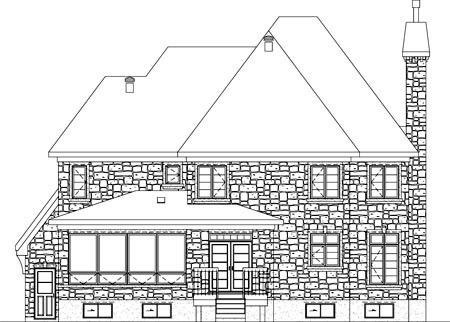 Traditional Rear Elevation of Plan 49858