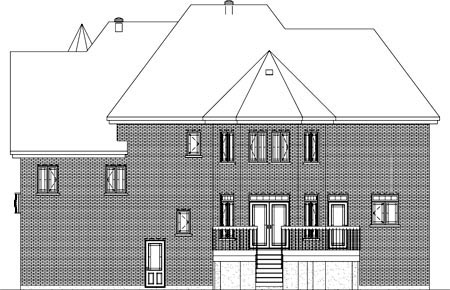 House Plan 49859 | Traditional Style Plan with 4065 Sq Ft, 4 Bedrooms, 4 Bathrooms, 2 Car Garage Rear Elevation