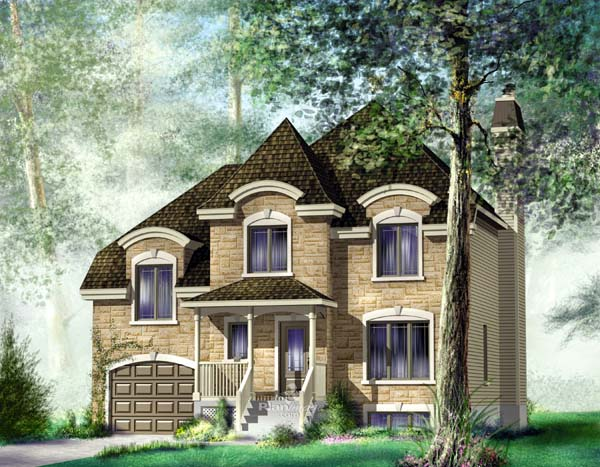 Traditional House Plan 49863 with 3 Beds, 3 Baths, 1 Car Garage Elevation