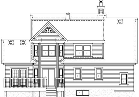 Traditional Rear Elevation of Plan 49871