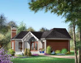 Traditional House Plan 49875 with 2 Beds, 2 Baths Elevation