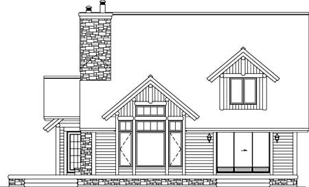 Traditional , Rear Elevation of Plan 49876