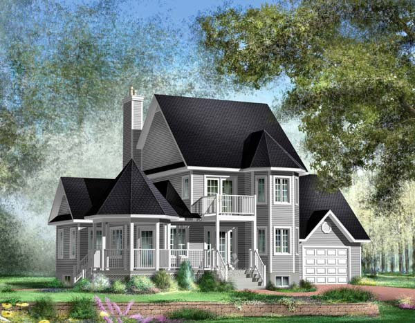 Traditional House Plan 49877 with 3 Beds, 3 Baths, 1 Car Garage Elevation
