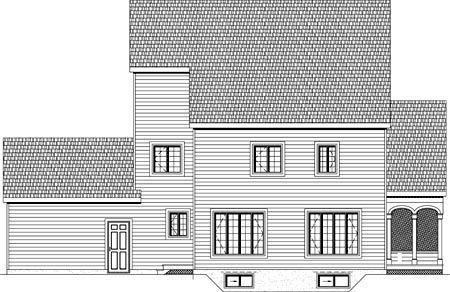 Rear Elevation of Plan 49889