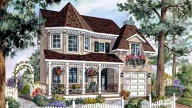 House Plan 49899 | Style Plan with 1627 Sq Ft, 3 Bedrooms, 2 Bathrooms, 1 Car Garage Elevation