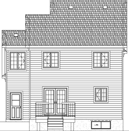 Rear Elevation of Plan 49901