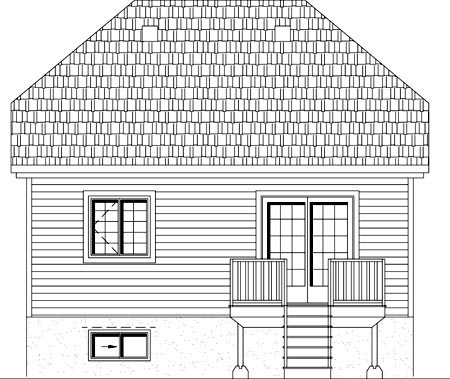 Rear Elevation of Plan 49908