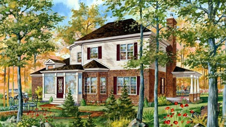 House Plan 49910 | Style Plan with 2371 Sq Ft, 2 Bedrooms, 2 Bathrooms, 2 Car Garage Rear Elevation