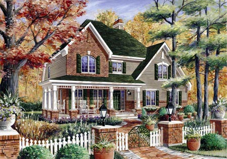 House Plan 49925 with 3 Beds, 2 Baths, 1 Car Garage Elevation