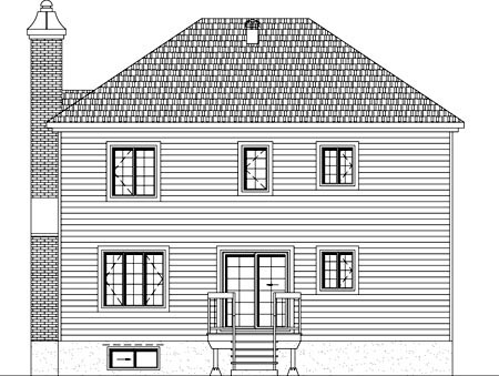 House Plan 49928 with 3 Beds, 2 Baths, 1 Car Garage Rear Elevation