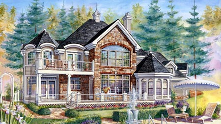 House Plan 49933 with 3 Beds, 3 Baths, 2 Car Garage Rear Elevation