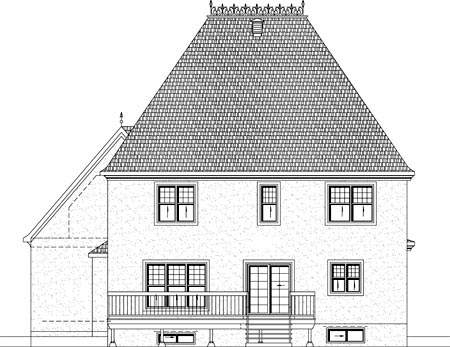 Rear Elevation of Plan 49936