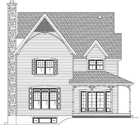 House Plan 49939 | Style Plan with 2043 Sq Ft, 2 Bedrooms, 2 Bathrooms Rear Elevation