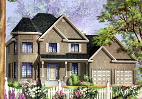 House Plan 49943 with 4 Beds, 3 Baths, 2 Car Garage Elevation