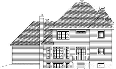 House Plan 49943 with 4 Beds, 3 Baths, 2 Car Garage Rear Elevation