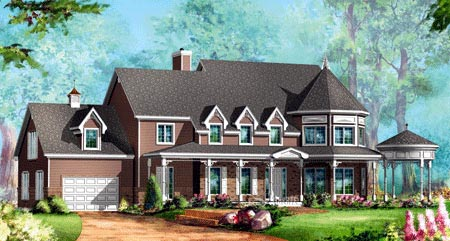 House Plan 49948 with 4 Beds, 3 Baths, 1 Car Garage Elevation